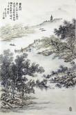 (已售)丁步广(河南美协)国画山水画 四尺三开《鸳鸯湖》