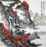 (已售)蓝国强 四尺斗方 国画山水画《秋清泉气香》