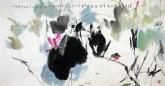 (已售)武文博(刘存惠弟子) 四尺横幅 国画写意花鸟画荷花《夏日盛荷塘》
