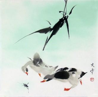 已售 武文博 刘存惠弟子 国画写意花鸟画小尺寸小品 鸭子 1号字画网