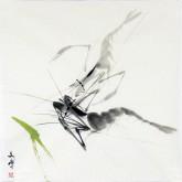 (已售)(可预定)武文博 国画写意花鸟画 小尺寸小品《虾》
