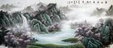 (已售)墨宇(周卡)国画聚宝盆山水画 小八尺《碧水春晓千峰秀》