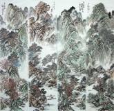 (已售)丁步广(河南美协)国画山水画 精品《四条屏》