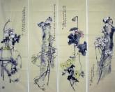 李大庆(中国美协会员)国画花鸟精品四条屏(中)2