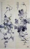 李大庆(中国美协会员)国画花鸟精品四条屏(中)1