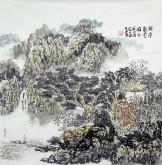 (已售)杨品国(陕西美协)国画山水画 四尺斗方《闲亭观云图》