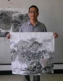 杨品国(国家一级美术师)国画山水画 四尺斗方《曲水春烟》
