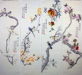 (已售)凌雪(中央美院)国画花鸟四条屏《花鸟》