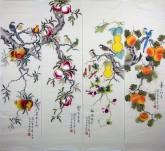 (已售)凌雪(中央美院)国画花鸟四条屏《果实四条屏》