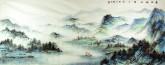 华卧石 国画山水画 小六尺横幅《春水船如天上坐》