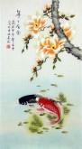 (已售)凌雪(中央美院)三尺竖幅国画写意花鸟画《年年有余》玉兰花鲤鱼