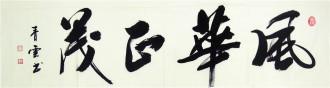 汤青云 湖北书协 国画行书法 四尺对开横幅《风华正茂》