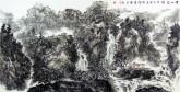 【询价】刘俊群(李小可工作室专业画家)四尺横幅水墨山水画《云山泉韵》