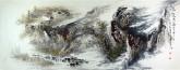 王杰(山东美协)国画山水画 小六尺横幅《高山鸣泉图》