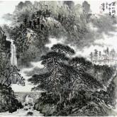 (已售)刘俊群(李小可工作室专业画家)四尺斗方水墨山水画《深山幽居》