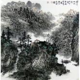【询价】刘俊群(李小可工作室专业画家)四尺斗方水墨山水画《置身山水间》