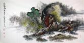 王杰(山东美协)国画山水画 四尺横幅《秋趣图》