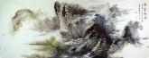 王杰(山东美协)国画山水画 小六尺横幅《黄山云烟图》