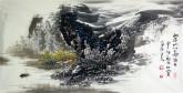 王杰(山东美协)国画山水画 三尺横幅《雨后山川图》