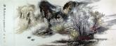 王杰(山东美协)国画山水画 小六尺横幅《秋江图》