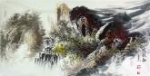 王杰(山东美协)国画山水画 三尺横幅《鸣泉图》