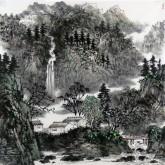 (已售)刘俊群(李小可工作室专业画家)四尺斗方水墨山水画《依山傍水》
