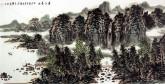 王本杰(中国美协会员)国画山水画 四尺横幅《春江晨曲》