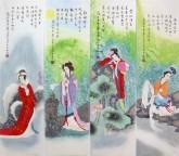 (已售)凌雪国画人物仕女四条屏