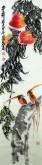 (已售)叶知青 国画花鸟画 四尺对开竖幅 《多寿》寿桃
