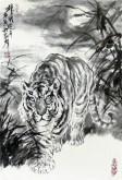(已售)郝众声(中国美协会员)  国画虎《雄风晓月》44*65cm小品3
