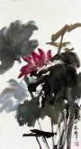 郝众声(中国美协会员)  国画荷花《幽香》36*67cm小品9