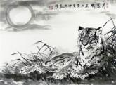 (已售)郝众声(中国美协会员)  国画虎《月朦胧》45*63cm小品11
