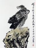 郝众声(中国美协会员)  国画鹰《雄姿邈世 高瞻远瞩》45*59cm小品17
