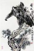 郝众声(中国美协会员)  国画鹰《雄视》43*64cm小品13