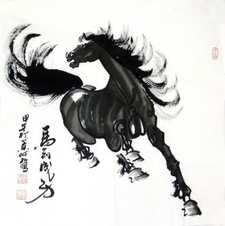 何红(湖北美协)四尺斗方 国画骏马图《马到成功》