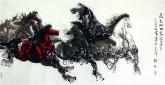 (已售)王杰(山东美协)国画动物画 四尺横幅 八骏图《马到成功图》