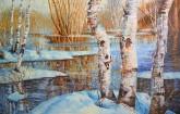 (已售)朝鲜油画 朴光男(一级画家)96*145cm 布面油画 冬湖13