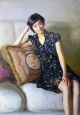 (已售)朝鲜油画 金东赫(一级画家)116*82cm 布面油画 思考2