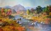 (已售)朝鲜油画 金夏镇(一级画家)99*166cm 布面油画 新平溪谷17