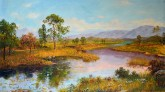 (已售)朝鲜油画 宇成(一级画家)68*123cm 布面油画 小溪19