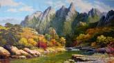 (已售)朝鲜油画 廉泰顺(人民艺术家)101*166cm 布面油画 山川
