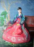 (已售)朝鲜油画 金光镇(一级画家)146*107cm 布面油画 青春3