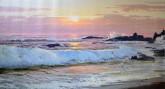 (已售)朝鲜油画 金星艺(功勋艺术家)89*165cm 布面油画 早上的海浪7
