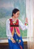 (已售)朝鲜油画 李镇(一级画家)80*115cm 布面油画 舞蹈12