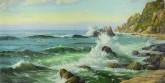 (已售)朝鲜油画 赵正范(一级画家)110*212cm 布面油画 大海2