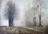 (已售)朝鲜油画 李日明(功勋艺术家)64*91cm 布面油画 回家的路9
