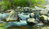 (已售)朝鲜油画 李男哲(一级画家)59*100cm 风景布面油画1
