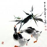 (已售)武文博 小品斗方 国画写意花鸟画 鸭子1