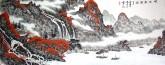 (已售)蓝国强 小六尺横幅 国画山水画《峡江秋韵图》