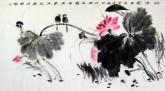【询价】叶玉立 国画花鸟画 四尺横幅荷花《好合图》